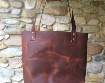 Oil Tan Leather Tote Bag, Leather Bag, Leather Purse, leather shoulder bag, leather tote, leather diaper bag, leather bag