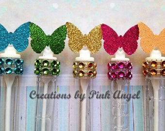Set of 12 Butterfly Party Favors, Butterfly Bubble Favors, Wedding Bubble Wands, Glitter Butterfly Favors, Wedding Send Off Bubbles