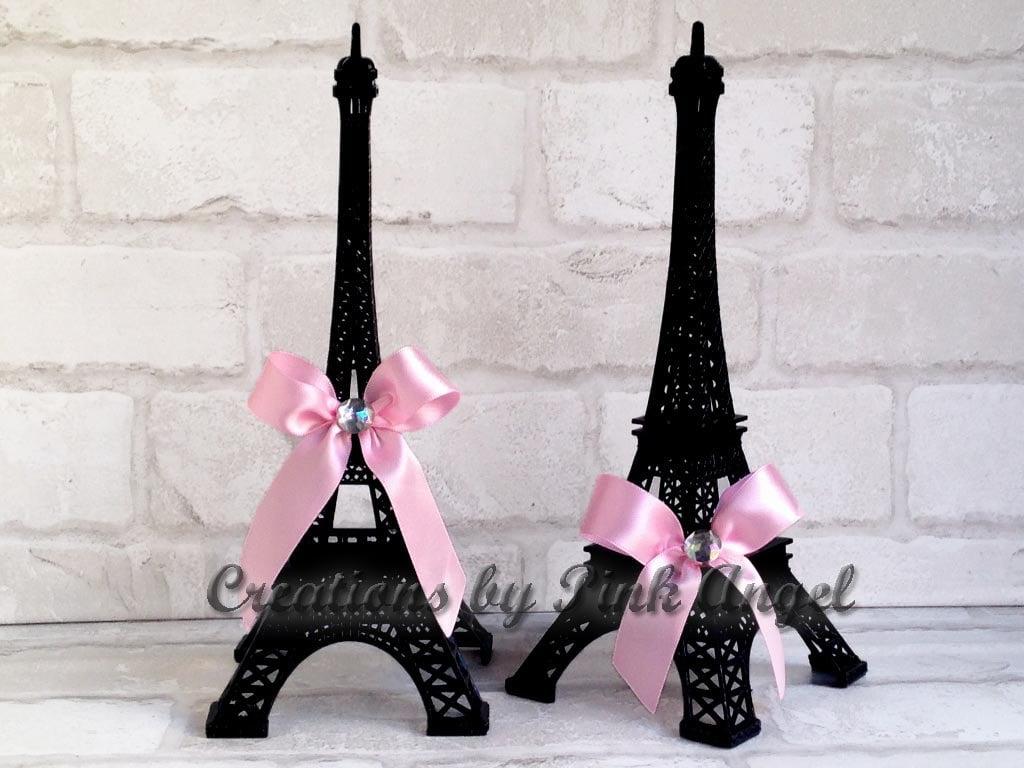 Inch black eiffel tower centerpiece and pink paris