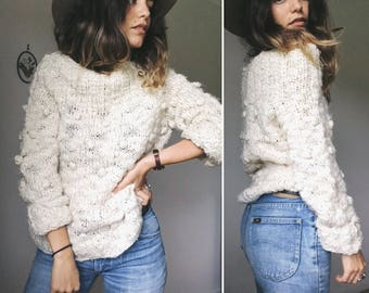 Vintage 90s // SLOUCHY COSY POMPOM Knit Pullover // Chunky Rib Stretch Neck Sweater // Toasty Earthy Neutral Jumper // Size S-M