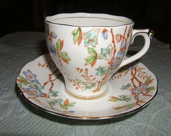 """Roslyn Bone China Cup & Saucer ~ """"Picta"""" ~ Blue Flowers ~ Made in England"""
