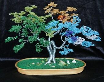 handcrafted bonsai sculpture, metal wire beaded sculpture, colorful bonsai metal beaded sculpture, home decor bonsai sculpture