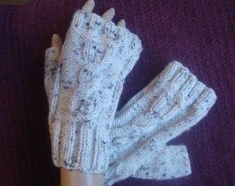 Hand Knitted Fingerless Gloves, Wrist Warmers with Rabbit Motif