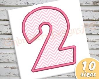 Number 2 Applique Design - 10 Sizes - Machine Embroidery Design File