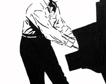 Jerry Lee Lewis hand-drawn drawing / painting