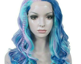 Neon Colour Wig,Neon Coloured Synthetic Wig,Balayage Synthetic Wig,Neon Balayage Wig,Neon Balayage Synthetic Wig,160% Density,Lace Front Wig