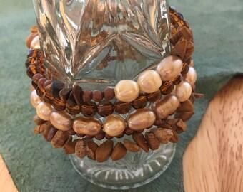 Tiger Eye & Pearl Wrap Bracelet - natural gemstones - Freshwater Pearls - copper beads - Wrap bracelet - Memory Wire