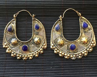 Earrings/Kuchi Earrings/Tribal Fusion bellydance/Gypsy/Bohemian/Bellydance/lapislazuli/Burning Man/ethnic earrings/Ibiza