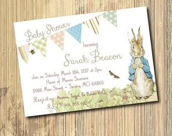 Vintage Peter Rabbit Baby Shower Invitation/Gender Neutral/DIGITAL FILE/printable/wording can be changed/Beatrix Potter, boy or girl