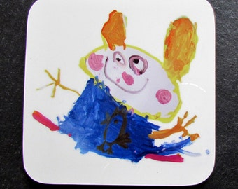 Personalised Cute Child's Drawing Coaster, Great Gift or Stocking Filler