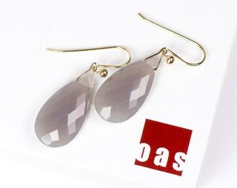 14K Moonstone Earrings, Grey Moonstone Earrings, 14K Solid Gold Moonstone Earrings, Solid Gold Earrings, Large Moonstone Earrings Teardrop