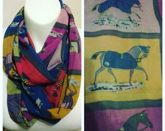 Horse Scarf  made from chiffon with multi-color squares with a beautiful horse  Fast Shipping