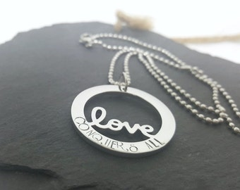 Love necklace, Stainless steel washer necklace, Hand stamped love conquers all circle necklace, Anniversary gift, Stainless steel jewelry