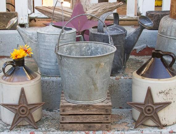 Very large galvanized pail big metal bucket rustic planter for Metal bucket planter