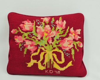 Rectangle Vintage Needlepoint Floral Bouquet Pillow in Red Pink Green Yellow and Blue