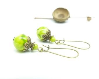 Earrings anise. Green earrings.