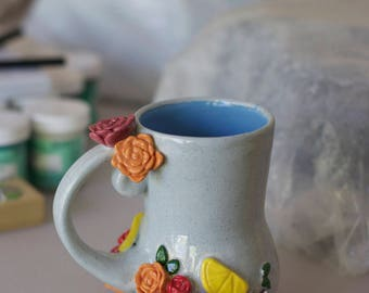 READY TO SHIP Spring Collection: Fig and Floral Tea Mug