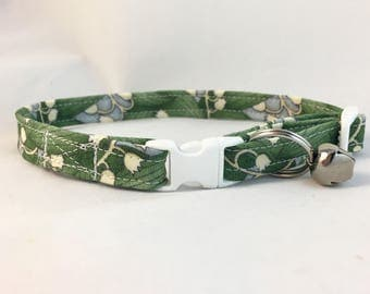Lily of the valley breakaway Cat Collar - White Floral Cat Collar - Breakaway Cat Collar - Floral Cat Collar - Safety Cat Collar