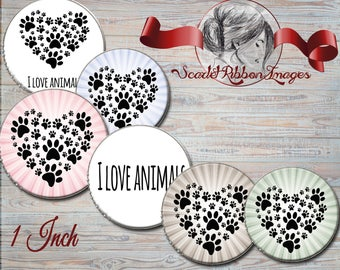 DOG PAW PRINT Hearts  1 inch Bottle Cap Images - Digital 1 inch circles
