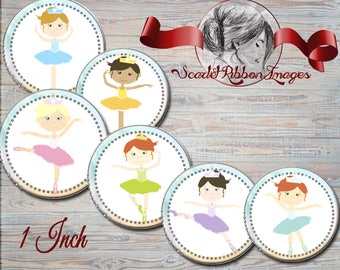 Ballerina bottle cap images  digital collage sheet 1 inch circle 600dpi high resolution for that perfect bow or gift tag
