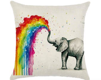 Elephant Rainbow Pillow Cushion Cover Linen Cotton Shabby Chic