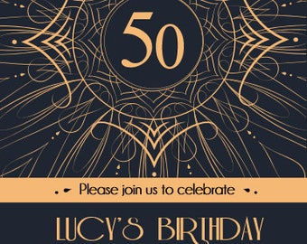 Printed Personalised 50th (or any age) Birthday Party Invitations X10