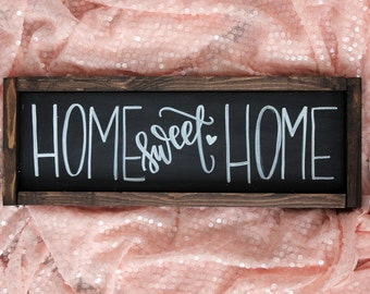 Home Sweet Home Hand Lettered Rustic Sign