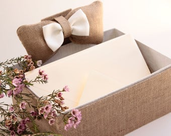 Box envelopes for wedding, country style burlap and oversized bow.