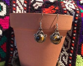 Vintage Tiger's Eye Earrings...Sterling Silver Earrings...Unique...Gypsy...Hippie...1970s...Gift...Vintage Shop