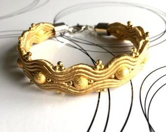 Soutache Bracelet, Woven Bracelet, Gold Bracelet, Friendship Bracelet, Oriental Bracelet, Bead Embroidery, Birthday Gift For Her
