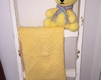 Crochet baby blanket throw baby toy yellow soft toy handmade newborn baby amigurumi toy blanket pram cot baby shower gift Etsy Australia