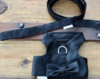 Black Tie Pet Harness with Matching Leash for Party or Wedding Made to Order All sizes Available