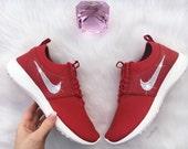 Red Swarovski Nike Juvenate Premium Shoes Customized With Swarovski Crystal Rhinestones New in Box Bling