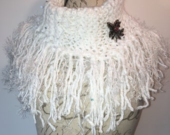 Knit Fringed Cowl Scarf, Whites, Scarf, Over Sized Cowl, Women's All Season Scarf, Accessory Gift, Romantic, Free Ship, Brooch Included