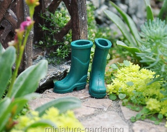 Green Rubber Boots for Miniature Garden, Fairy Garden