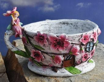 Cherry Blossom Tea Cup Planter for Miniature Garden, Fairy Garden