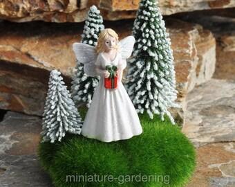 Christmas Fairy Among the Evergreens for Miniature Garden, Fairy Garden