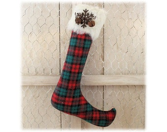 Elf Stocking Ornament Country Primitive Christmas Red Green Tartan