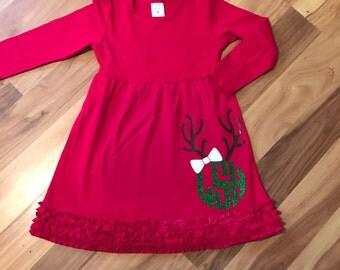 Christmas Ruffle Dress