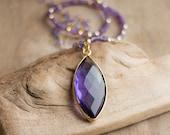 Amethyst Necklace, February Birthstone, Purple Statement Necklace, Amethyst Beaded Necklace, Long Gold Purple Necklace, Boho Luxe Jewellery