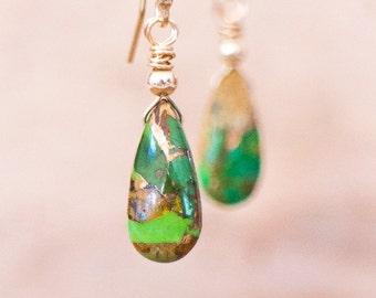 Green Copper Turquoise Drop Earrings, Mojave Green Turquoise Earrings, December Birthstone, Genuine Turquoise Jewellery, Green Drop Earrings