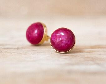 Ruby Stud Earrings in Gold or Silver, July Birthstone, Berry Red Earrings, Ruby Jewellery, Gift Ideas, 8mm Gemstone Ear Studs, Ruby Earrings