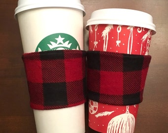 Flannel Coffee Cozy - Red and Black Plaid