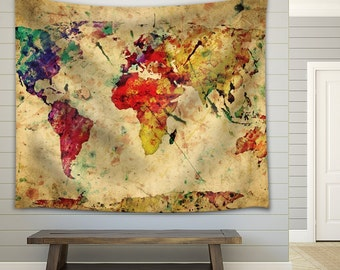 wall26 a map of the world in water colors fabric tapestry 51x60 inches