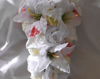 Cascade bridal bouquet white ivory and deep blush pink 2 pieces