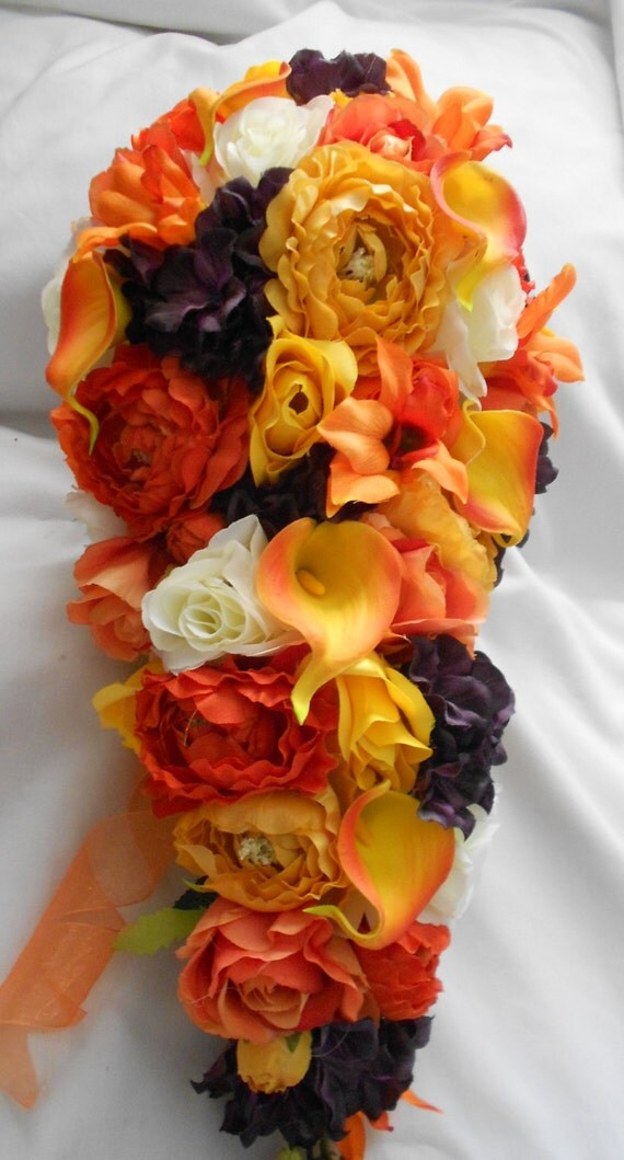 Cascading fall wedding set plum ,orange, ivory and  yellow 17 pieces lilies roses and ranunculus