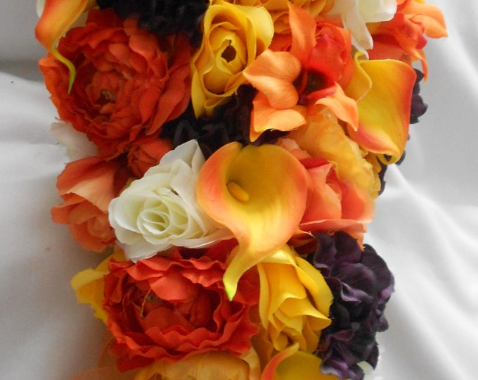 Fall wedding set 17 pieces cascading bouquet orange yellow and plum