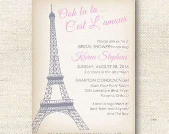 "Eiffel Tower ""Ooh La La!"" Paris Themed Bridal Shower Invitation 