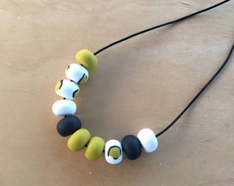 Polymer clay bead necklace. Polymer clay necklace. Mustard, white, black, leopard 'The Amanda'