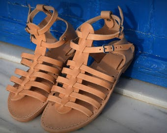 Classic Gladiator sandals, Real Leather Sandals, Greek sandals in natural leather, Genuine Greek leather, Women's gladiators,  Roman Sandals